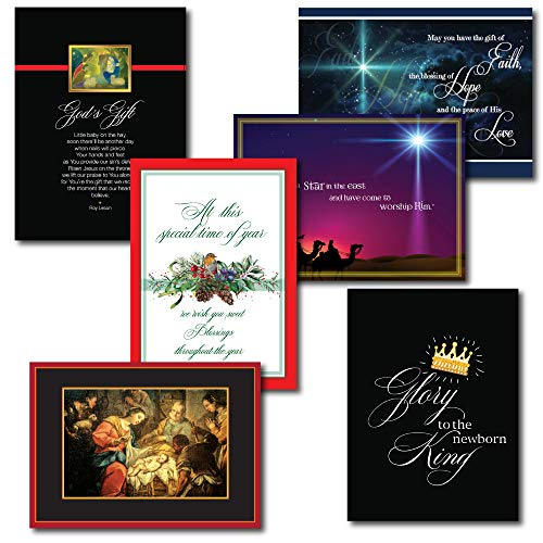 Religious Christmas Greeting Card Assortment -5 Each of 6 Unique Holiday Designs. Boxed Set of 30 Cards with 31 Foil-Lined Envelopes.