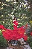 Eghunooye Schwangere Frauen Kleid für Foto-Shooting Schulterfrei Schwangerschaft Lang Kleid Chiffonkleid Fotografie Umstandskleid Maxikleid für Mutterschaft (Rot, Einheitsgröße)