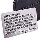 Billetera inserta tarjeta de aniversario regalos para hombres esposo de esposa novia novio regalos cumpleaños metal mini amor nota valentine regalo de boda para el novio novia, su despliegue regalos