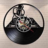 FDGFDG DJ Turntables Hip Hop Reloj de Pared Night Club Music Studio Wall Art Vintage Vinyl Record Reloj de Pared Music Lover DJ Boyfriend Gifts