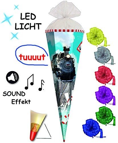 alles-meine.de GmbH mit Sound Effekt & LED Licht ! - Schultüte -  Eisenbahn - Lokomotive  - 85 cm - 6 eckig - incl. Schleife - Organza Abschluß - Zuckertüte Roth - mit / ohne H..