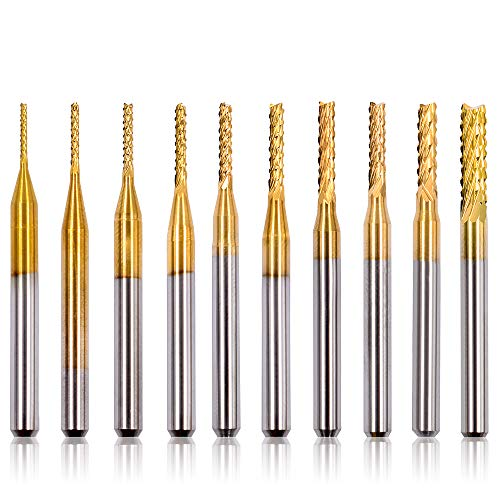 Acelane 10Pcs 0.8-3 mm Carbide End Mill CNC Rotary Bits Rotary Burrs Tool Engraving Machine Drilling Hole Tool Set for Genmitsu PCB Mould Plastic Fiber Carbon Fiber Hard Wood, 1/8'' Shank