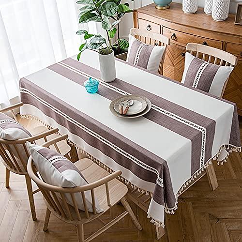 Tovaglie, Tovaglia in cotone e lino con cuciture a nappa Tovaglia a righe rettangolari Copritavolo lavabile per tavolo interno ed esterno/Caffè / 90x150cm