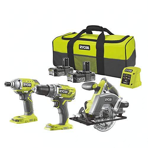 Ryobi 18v Triple Kit Combi Drill, Impact Driver & Circular Saw 2X 2.0Ah Li-ion Batteries & Charger