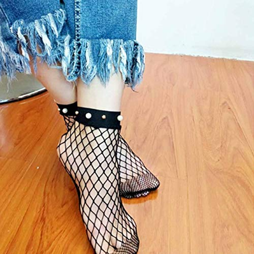 Liobaba Cotton Short Mesh Fishnet Socks Gridding Lace Women's Summer Breathable Ultra-Thin Transparent Silk Socks Calcetines