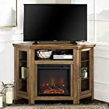 Walker Edison Furniture Company Tall Wood Corner Fireplace Stand for TV's up to 55' Flat Screen Living Room Entertainment Center, 48 Inch, Rustic Oak