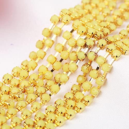 5 yardas 3 / 4mm grado superior más colores cadena de copa de diamantes de imitación de acrílico ropa cadena de copa de costura con adornos de diamantes de imitación para ropa DIY