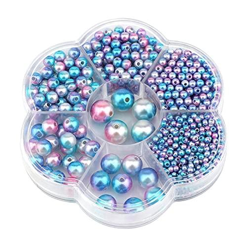 LxwSin Cuentas Vidrio Redondas, Cuentas de Colores, 1150 Piezas 3/4/5/6/8/10/12mm Perlas de Imitación de Degradado Perlas Espaciadoras Sueltas para Artesanía DIY Collares Pulseras Pendientes A
