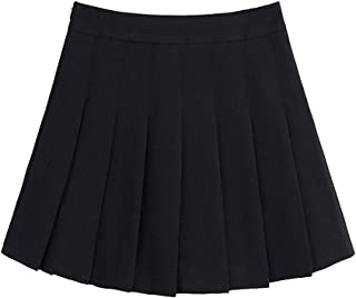 c9595459b68 Naughtyspring Womens Basic Fashion Solid Slim High Waist Pleated Tennis  Short Skirt with Flounce