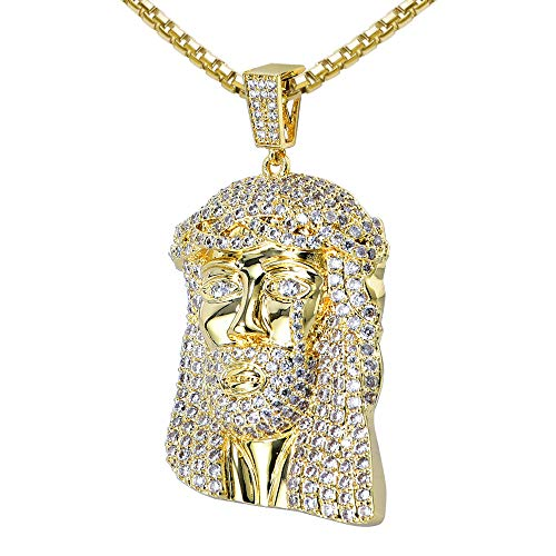 VANAXIN Mens Gold Jesus Piece Pendant Necklace Chain for Men Gold Plated Punk Hip Hop Jewelry(MGold)