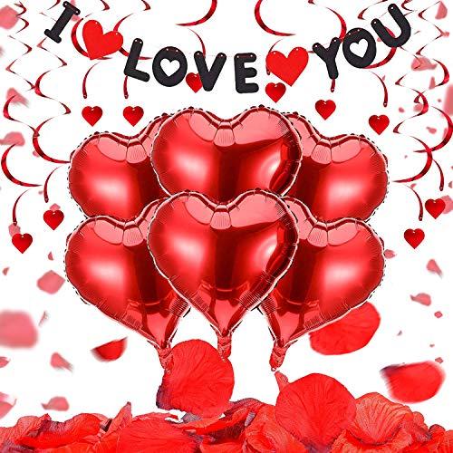 Set De Deco De San Valentín,Globos Corazon Rojo,Bodas Nupcial Aniversario,Globos De San Valentín,Decoraciones De Boda,Ambiente Romántico Decoración,Petalos De Rosa Para Bodas