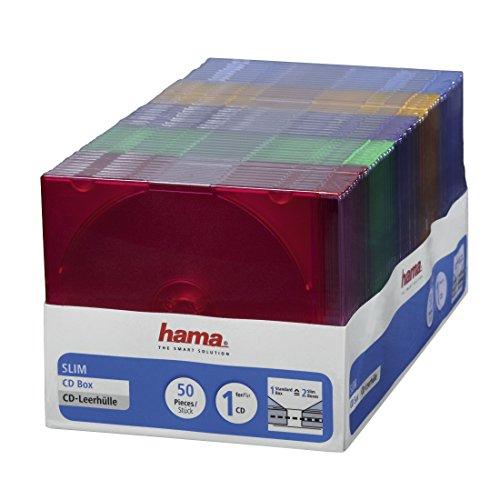 CD-ROM Slim Box (platzsparend, auch für DVD und Blu-ray geeignet, fünf verschiedene Farben) 50er Pack