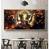 キャンバス塗装 ウォールアートプリント主ガネーシャビナヤカガナパティ像仏絵画宗教アート黄金象装飾 50*75cm