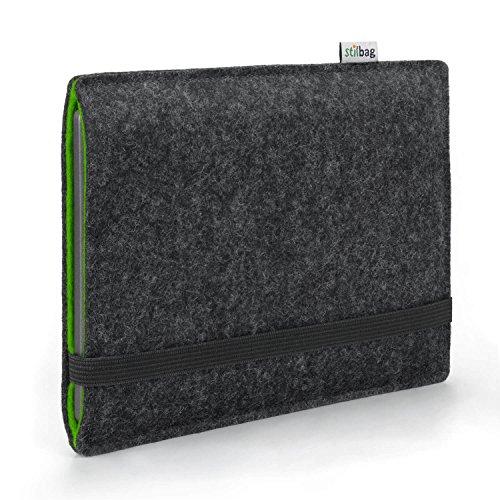 Stilbag e-Reader Hülle Finn für Pocketbook InkPad X | Wollfilz anthrazit/grün | Schutzhülle Made in Germany