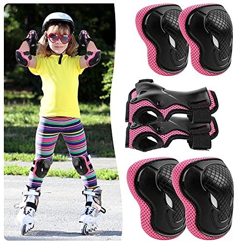 ALISXM Kinder Knieschoner,Protektoren Kinder Schonerset Schutzausrüstung,Set 6 in 1 Ellenbogenschoner Knieschützer Inliner Kinder für Skateboard Radfahren Roller Skating Radfahren (Rosa)