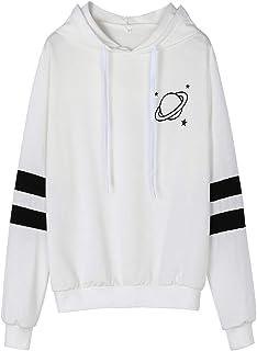 a87e8c689ad659 BCDshop Women Girl Sweatshirt Hoodie Long Sleeve Shirt Saturn Star Tops  Casual Blouse Black