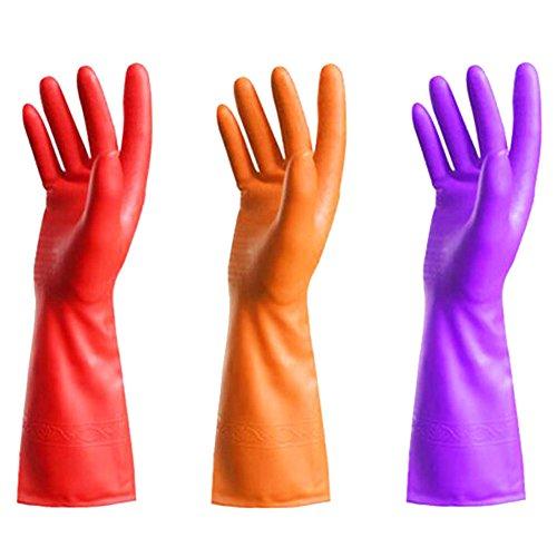 3 paires vaisselles Gants imperméables Gants de nettoyage couleur aléatoire