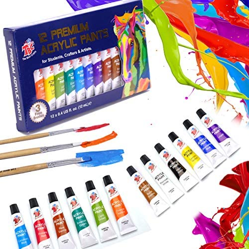 TBC The Best Crafts 12 Colors 12 x 12ml Acrylic Paint Set for Professional Artists Adults Rock product image