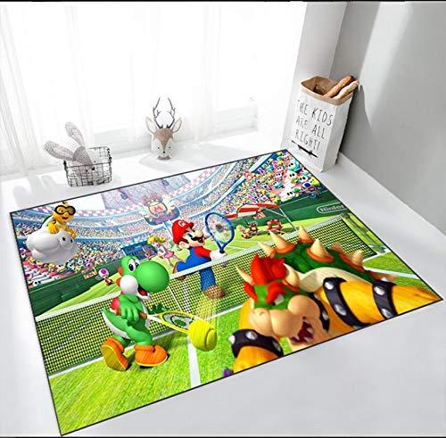 Alfombra rectangular de dibujos animados de Mario Bros, alfombras antideslizantes, alfombrilla para puerta de piso, alfombrilla de juego negra amarilla para niños, decoración para sala de estar