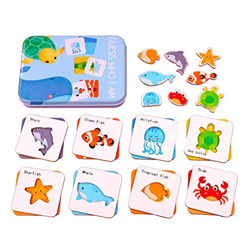 Oulian Holzpuzzle Tiere Who I Am, Flash Cards Erkenntnis Puzzle Lernkarten Pädagogisches Spielzeug, Lustige Spiele mit Aufbewahrungsbox für Kleinkinder Güter Matching Lernspiel 1-6 Jahre Alt