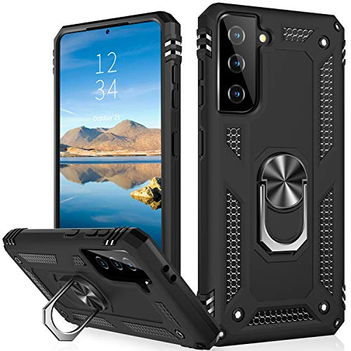 IKAZZ Galaxy S21 Plus Case,Samsung S21 Plus Cover Military Grade Shockproof Heavy Duty Protective Phone Case Pass 16ft Drop Test with Magnetic Kickstand for Samsung Galaxy S21 Plus Black