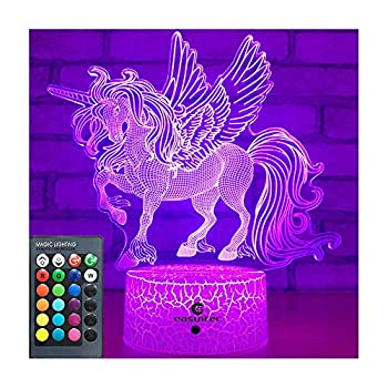 Easuntec Unicorn Gifts Night Lights for Kids with Remote & Smart Touch 7 Colors + 16 Colors Changing Dimmable Unicorn Toys 1 2 3 4 5 6 7 8 Year Old Girl Gifts  Unicorn 16WT
