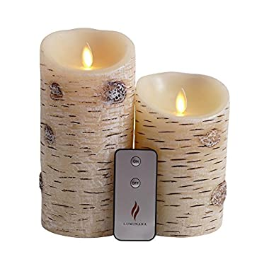 Set of 2 Luminara Birch Bark Flameless Candles: 3.5 x5  3.5 x7  Unscented Moving Flame Candle with Timer, Remote, Batteries