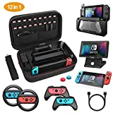 Etui pour Nintendo Switch, HEYSTOP 12 en 1 Nintendo Switch Housse de Transport avec Coque de Protection, Support de Jeu, Manette Joycon Grip et Volant, Protection écran, Joystick Caps, Câble de Charge