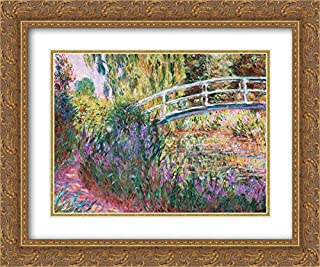 Monet, Claude 34x28 Gold Ornate Frame and Double Matted Museum Art Print Titled The Japanese Bridge Pond with Water Lillies