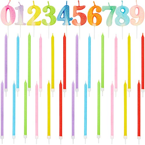 Number 0-9 Birthday Cake Topper with Long Thin Candles in Holders (Neon, 34 Pack)