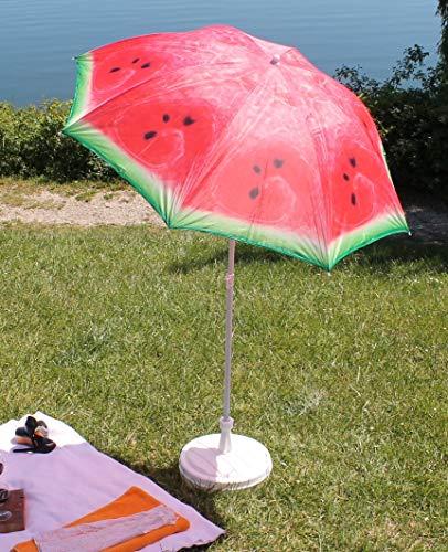 AAF Nommel Sonnenschirm Strand Schirm Gartenschirm - Ø160 cm Marktschirm Orange Kiwi Melone (Melone)
