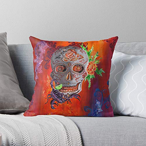 Sun Skulls Scorpion Sting Skull Tequila Sunrise Fire Fsgteawonchoi- Modern Decorative & LightweightSoft Cotton Polyester Throw Pillow Cases for Bedroom/Living Room/Sofa Chair & Car