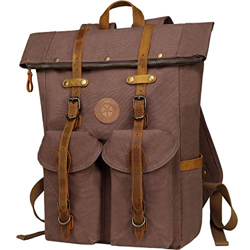 Botone Hamburg Retro Backpack Women Men - Large Roll Top Daypacks Canvas Genuine Leather...