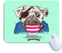 ECOMAOMI 可愛いマウスパッド 海賊パグ犬 滑り止めゴムバッキングマウスパッドノートブックコンピュータマウスマット