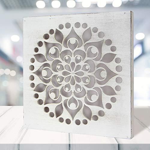 Cuadro Mandala de Pared Calada, Fabricada artesanalmente en España- Mandala 3D Cuadrada Pintada a Mano (103 Blanco, 30x30 cm)