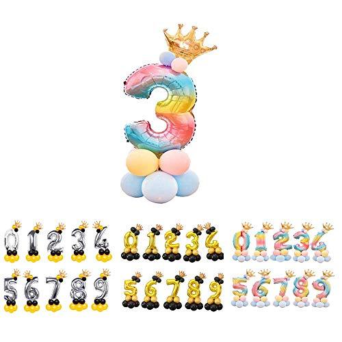 Unishop Cumpleaños Globos Foil Metálico Globo Número Gigante Oro Plata Globos para Fiesta de Cumpleaños Aniversarios Globos Numeros para Cumpleaños Fiesta Decoración (Arco iris 3)