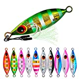 5pcs Saltwater Fishing Jigs Lures Glow Offshore Speed Metal Jig Micro Butterfly Jigging Spoons with Assist Hooks Slow Pitch Jigs for Crappie Tuna King Salmon Grouper Snapper Ice Fishing Tackle 5cm/10g