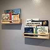 2 Pack Wood Wall Mount Nursery Bookshelf Floating Book Shelves Photos CDs Shelf for Kid's Room, Floating Wooden Spice Wall Mounted Rack for Kitchen