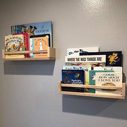 Gneric 2 Pack Wood Wall Mount Nursery Bookshelf Floating Bookshelves Photos CDs Shelf for Kid's Room, Floating Wooden Spice Wall Mounted Rack for Kitchen