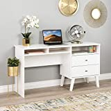 Prepac Milo Desk with Side Storage and 2 Drawers, 55', White