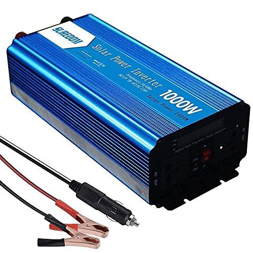 FHISD Inversor de Corriente Onda sinusoidal Pura 300W / 500W / 600W / 800W / 1000W / 1500W / 2000W / 2500W / 3000W 12V 24V DC a 110V 220V AC Convertidor -2 Salidas AC