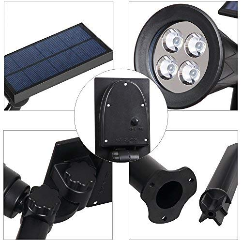 Solar Spotlight, T-SUNUS IP65 Waterproof 4 LED Solar Lights Wall Light,Auto-on/Off Security Light Landscape Light 180° Angle Adjustable for Tree,Patio,Yard,Garden,Driveway,Pool Area (2 Pack Green)