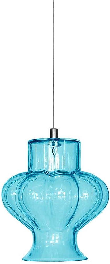 Karman ceraunavolta, lampada a sospensione forma di f, in vetro azzurro tiffany SE1344T INT