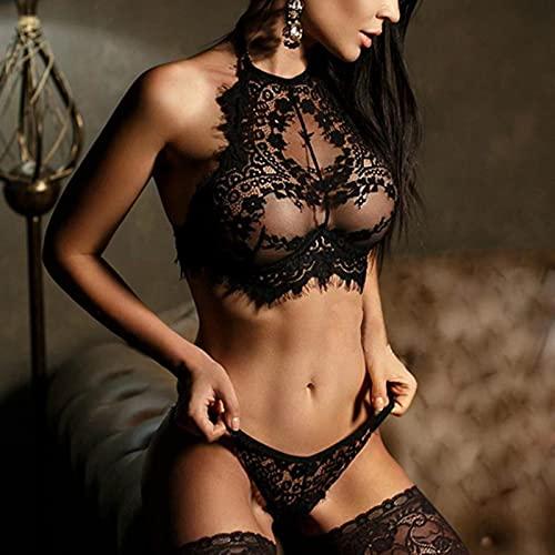 Conjunto de lencería Sexy para mujer, conjuntos de sujetador íntimos eróticos calientes, lencería Sexy transparente de encaje, conjunto de bragas de sujetador con bordado de cintura baja para mujer