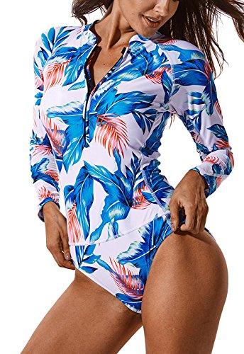 FITTOO Costume Surf Donna Abbigliamento Surf Costume da Bagno Sexy Tankini per Sport Acquatici Snorkeling, Bianco, XL