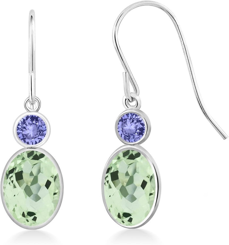 2.24 Ct Oval Green Amethyst bluee Tanzanite 14K White gold Earrings