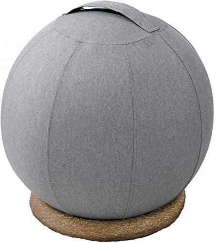 [山善] バランスボール 55cm バランスチェア (土台/空気入れ/カバー/取っ手付き) 椅子 インテリアに馴染みやすい グレー HBS-55(GY)