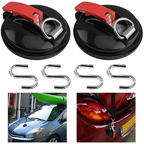 BAIBEI Ganchos multifunción con ventosa, con 4 ganchos en forma de S para colgar en el coche, maletas, tiendas de campaña, tensor de coche, 2pcs