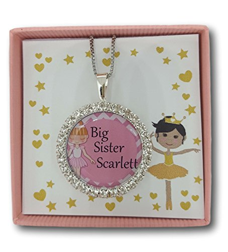 ella rose Girls Personalised Big Little Middle Sister Best Friend Necklace Pendant Boxed