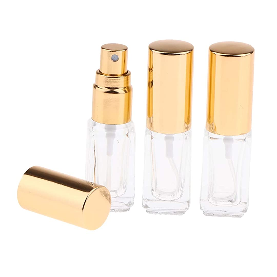 Perfeclan ガラスボトル スプレーボトル 香水アトマイザー 3ML 詰め替え容器 小型 3個セット 全3色 - ゴールドキャップ